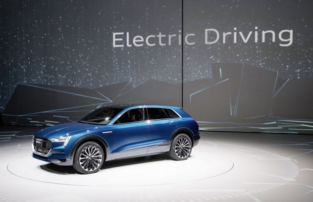 The concept car Audi e-tron quattro at the Volkswagen Group Night (IAA) in Frankfurt.